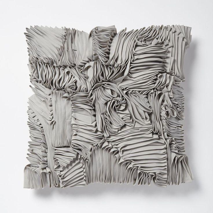 Ruffle Ribbon Cushion Cover - Platinum