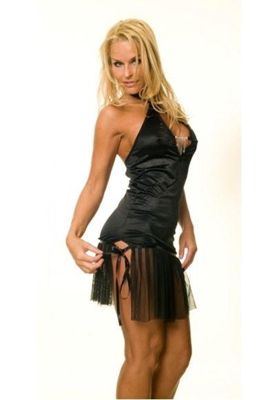 Siyah Transparan Etekli Elbise  Askılı Seksi Mini Elbise modelleri