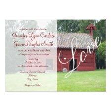 Beautiful red barn wedding invitation!