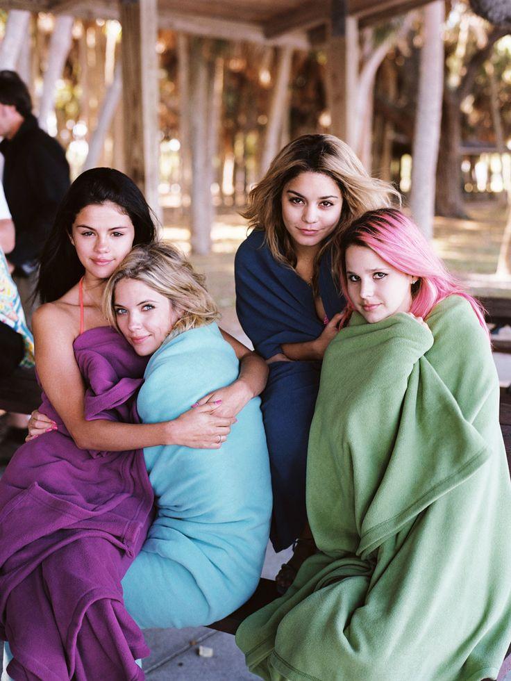 "Selena Gomez Ashley Benson Vanessa Hudgens and Rachel Korine on the set of ""Spring Breakers"""