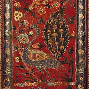 Detail with a peacock from the painted wood paneling from the reception hall of a Christian merchant, Aleppo / Syria, dated 1600-01 and 1603 © National Museums in Berlin, Museum of Islamic Art / Georg Niedermeier Meiser