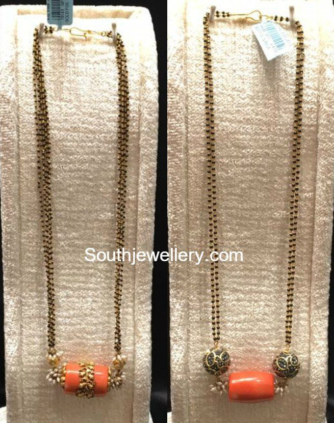 Black Beads Mangalsutra Chains with Coral Bead Pendants