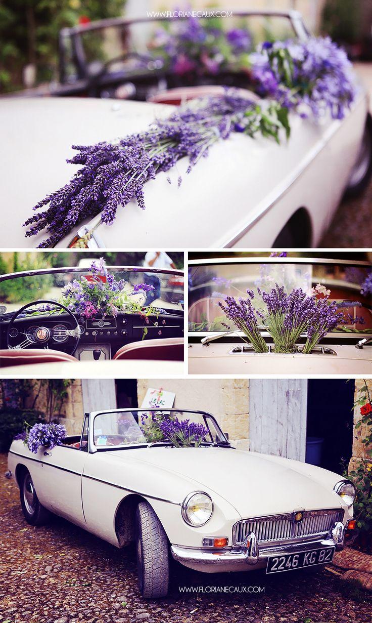 Floriane Caux Photographe de Mariage - De jolis Mariages - Toulouse, Ariège.  Mustang décorée avec de la lavande <3 #mariage #wedding #mustang #voiture