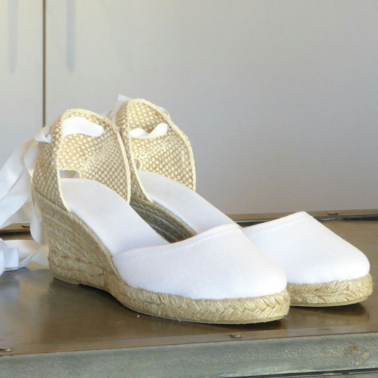White espadrille wedges by mumishoes