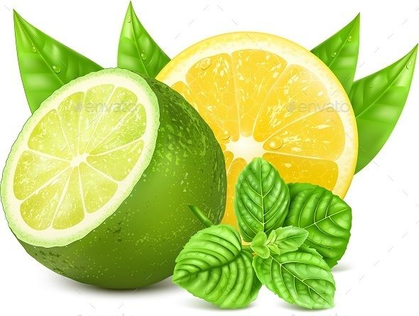 Yellow Lemon and Green Lime Vector - Food Objects