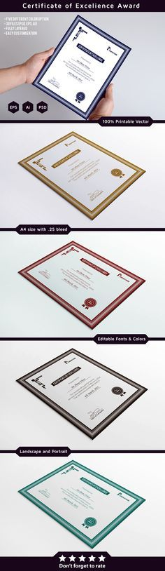 62 best award certificates images on pinterest award certificates this is clean and simple award certificate template its printable and fully editable its available in five color versions and three different file formats yadclub Gallery