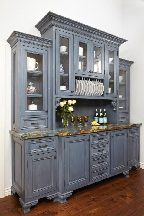This Gray Kitchen Hutch Is A Perfect Neutral Accent To Bright And Spacious