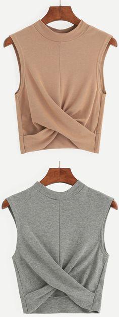 Fall Style: Grey Mock Neck Crop Draped Tank Top