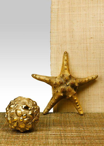 Summer Decor: Antique Gold Knobby Starfish & Seashell Ball