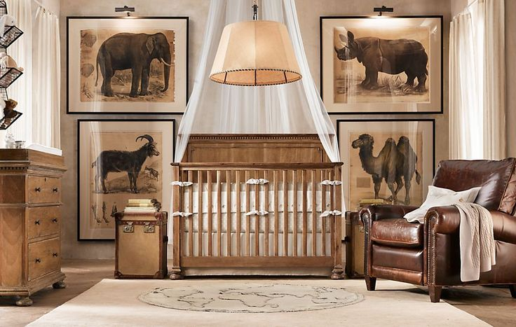 Love the idea of large prints on the wall in nursery. Also lighting artwork. Photo from Restoration Hardware.
