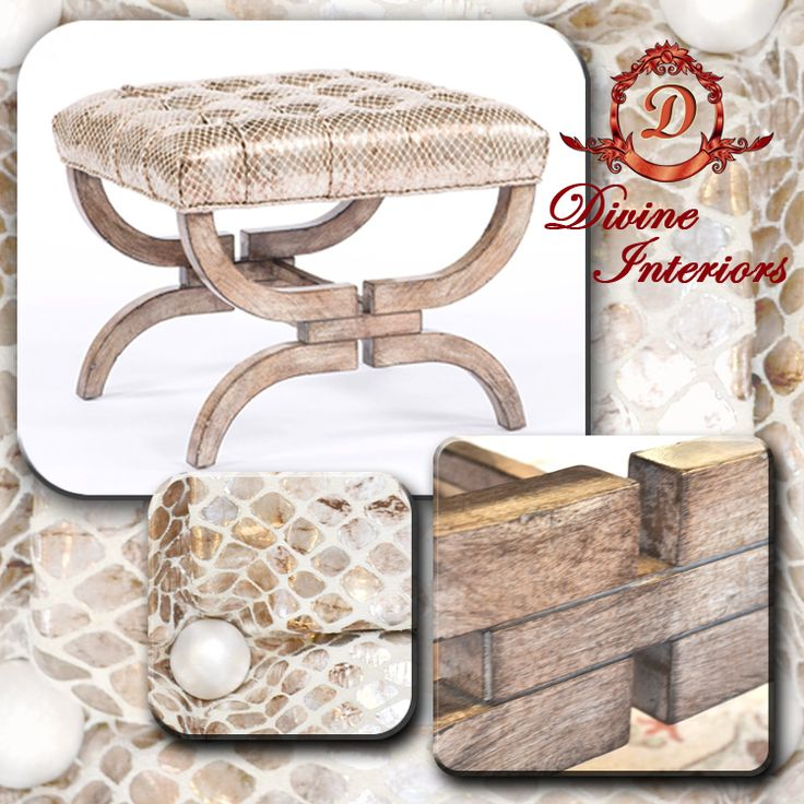 Classy transitional French style tuft Ottoman by Paul Robert. Made with walnut wood and 100% leather with a press pattern finish for that exotic look .