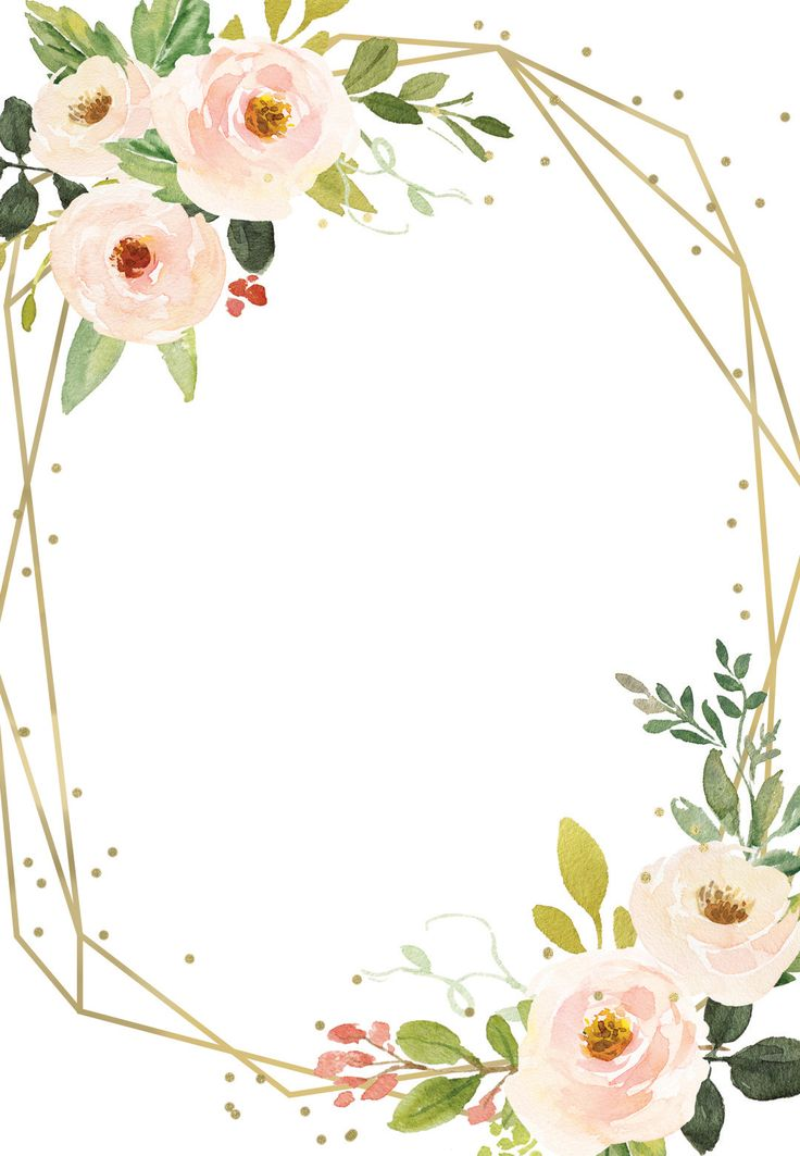 polygonal frame and flowers  quinceañera invitation