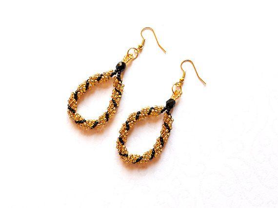 Golden and black earrings beaded earrings teardrop earrings