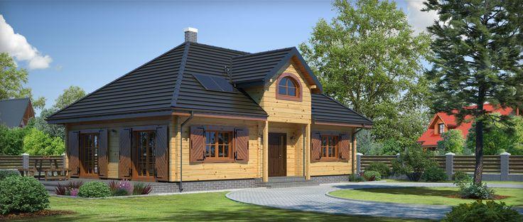 Projekt domu mieszkalnego parterowego, niepodpiwniczonego.  Opis techniczny projektu powierzchnia użytkowa 109.77 m² powierzchnia zabudowy 136.8 m² powierzchnia netto 113.19 m²  Wygodny dom w konstrukcji drewnianej. Funkcjonalnie zaprojektowana powierzchnia, na której wydzielono: duży salon z kominkiem, dwa pokoje w tym jeden z własną łazienką i garderobą oraz kuchnię.