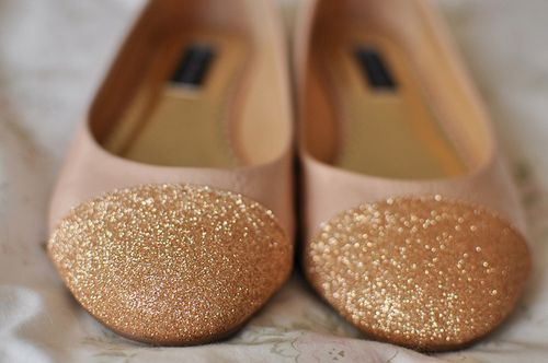 I think I'd like to try DIY-ing these. I have a thing for glitter, you might say.: Gold Glitter, Sparkly Shoes, Pale Pink, Jimmy Choo, Glitter Shoes, Ballet Flats, Glitter Toe, Glitter Flats, Sparkly Flats