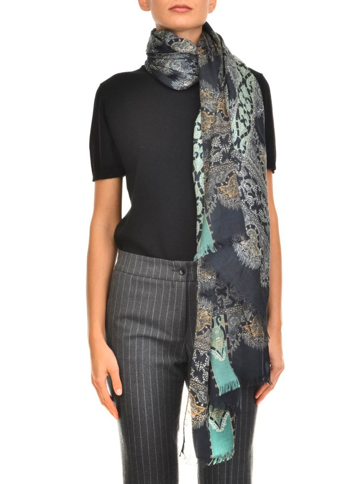 Etro: scarves online - Paisley pattern cashmere scarf