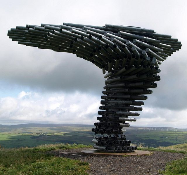 Singing Ringing Tree in Lancashire England is a sculpture made of steel pipes which resonate with the wind and have been tuned by adding holes. Photo by Tony Worrall Foto #Singing_Ringing_Tree #Tony_Worrall_Foto #Lancashire_England
