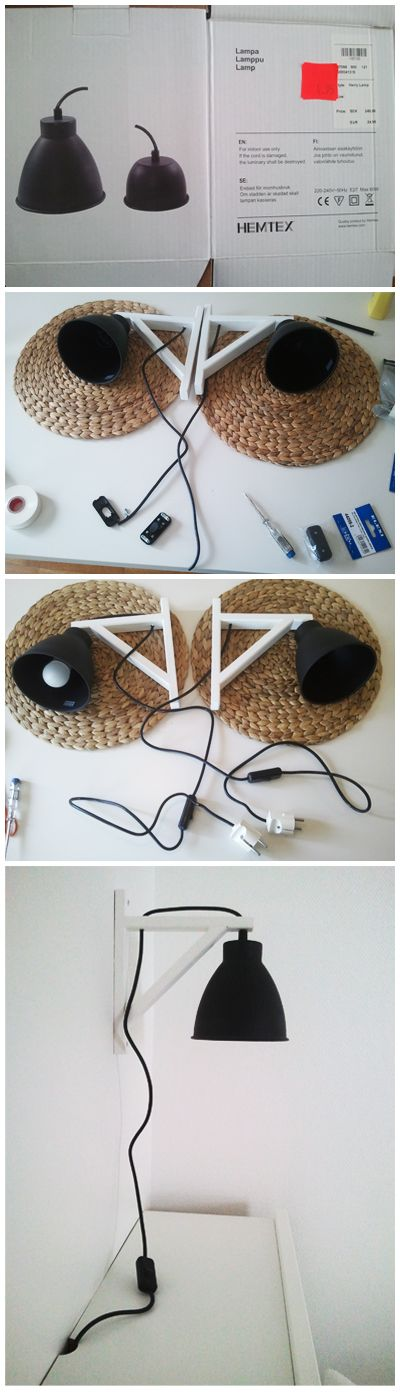 DIY hanging wall lamp from ikea shelf holders & hemtex ceiling lamps.