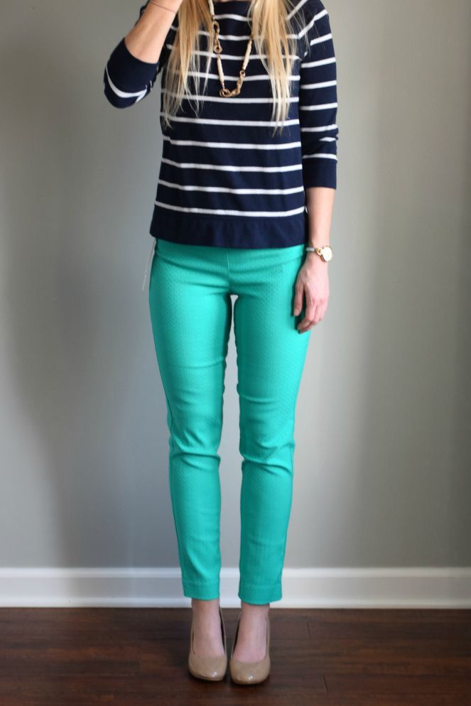 Stitch fix spring summer fashion trends 2016. Navy and white stripe sweater. Teal pant. Nude pumps.