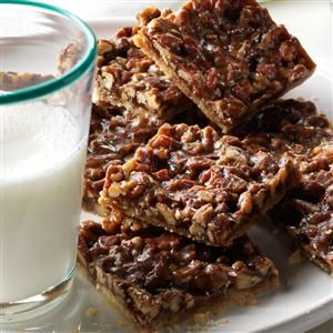 Salted Pecan Shortbread Squares Recipe -My shortbread squares are the ultimate go-to for cookie trays and gift-giving. The buttery caramel and toasted nuts make it a tough to eat just one. —Diana Ashcraft, Monmouth, OR
