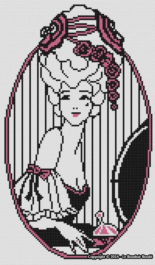 0 point de croix femme avec perruque - cross stitch lady with a wig