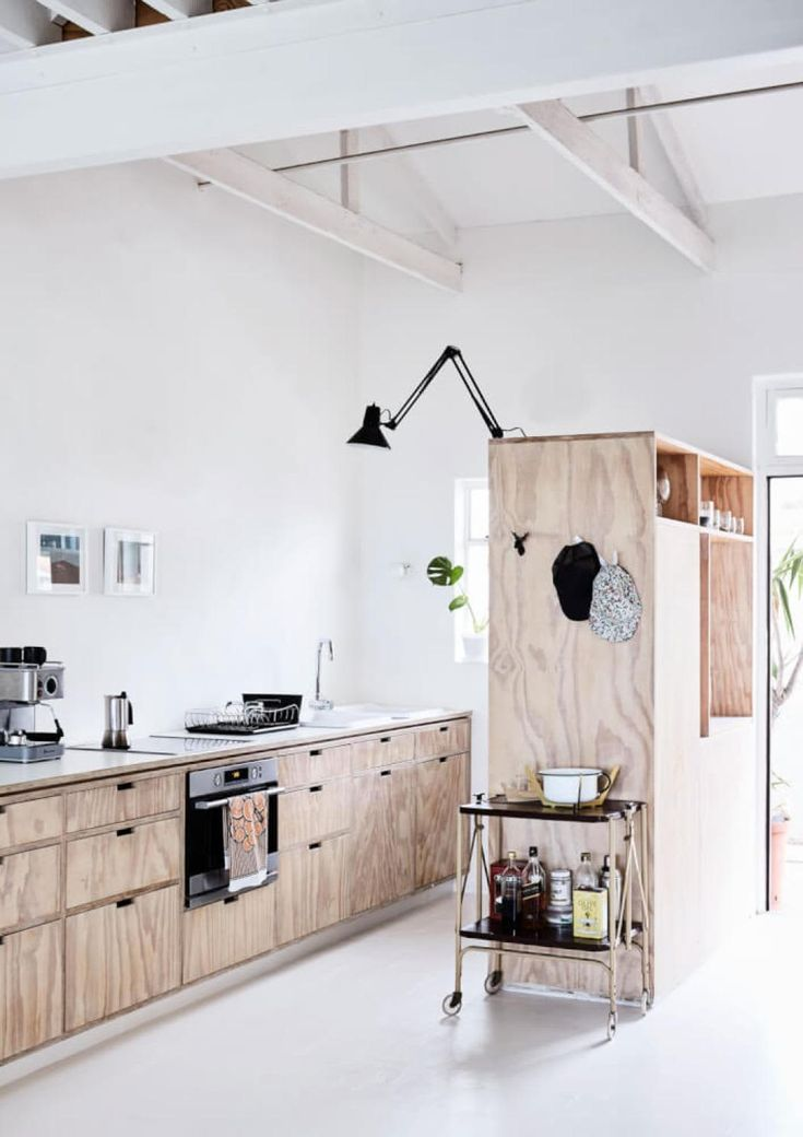 This Cheap Material Looks Surprisingly Chic In The Kitchen Plywood Kitchen Kitchens Without Upper Cabinets Interior Design Kitchen