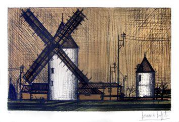 Buffet Bernard : Lithographie originale signée : Les moulins