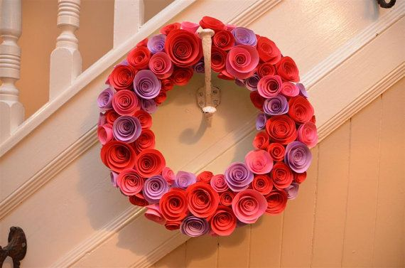 Paper Wreath - VALENTINES - ROSES - PINK paper roses - red - pink - flowers - Valentine's day