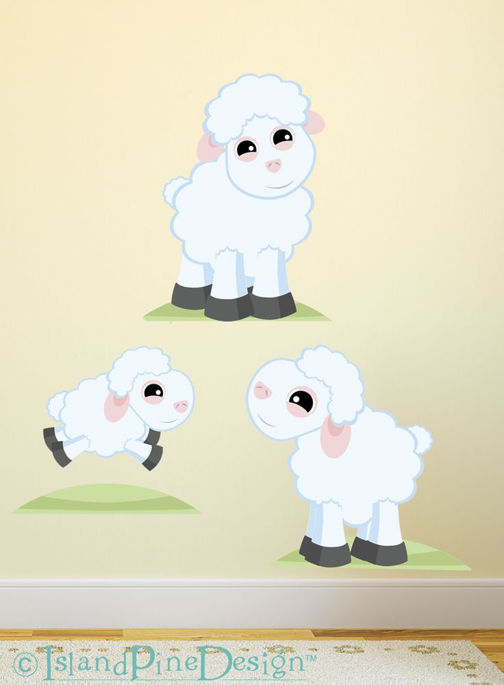 Sheep Family | Non-toxic Posable Wall Art Decal Sticker Kit by Mixable Murals.  www.mixablemurals.com