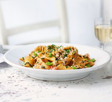 Make your own pappardelle and you may never go back to shop-bought pasta. Fresh crab adds a touch of luxury to a sauce rich with tomatoes and broad beans