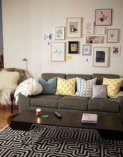 Love the pillows grey couch should be lighter home for Living room 6 portland