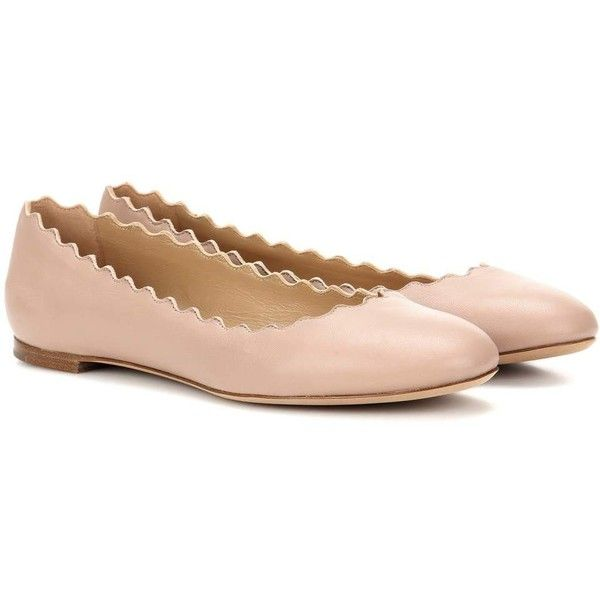 Chloé Lauren Leather Ballerinas ($595) ❤ liked on Polyvore featuring shoes, flats, beige, beige ballet shoes, leather ballerina flats, ballerina shoes, genuine leather shoes and chloe flats