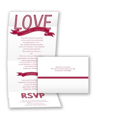 Economical Typography Seal and Send Wedding Invitation with banners at Invitations By David's Bridal