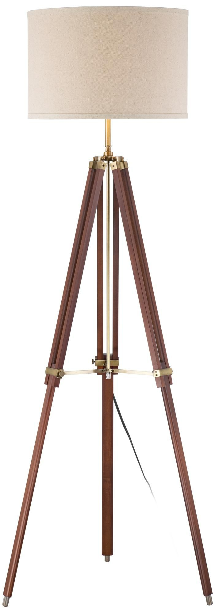 Cherry Finish Wood Surveyor Tripod Floor Lamp | LampsPlus.com