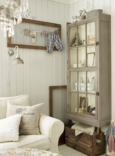 love , love , love what looks like an old window turned into a cabinet wall
