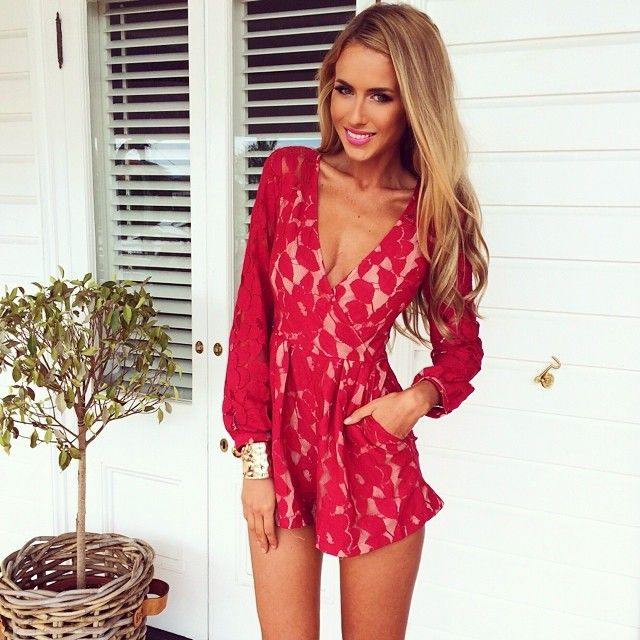 lace red romper