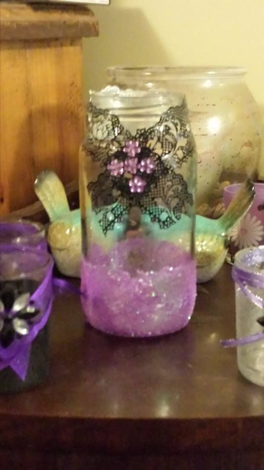Another pasta jar, PVA glue + purple glitter, finished off with scrapbook lace tape and a pretty sticker.