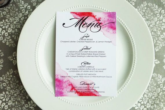 Hey, I found this really awesome Etsy listing at https://www.etsy.com/listing/223413921/printed-wedding-menus-watercolor-5x7