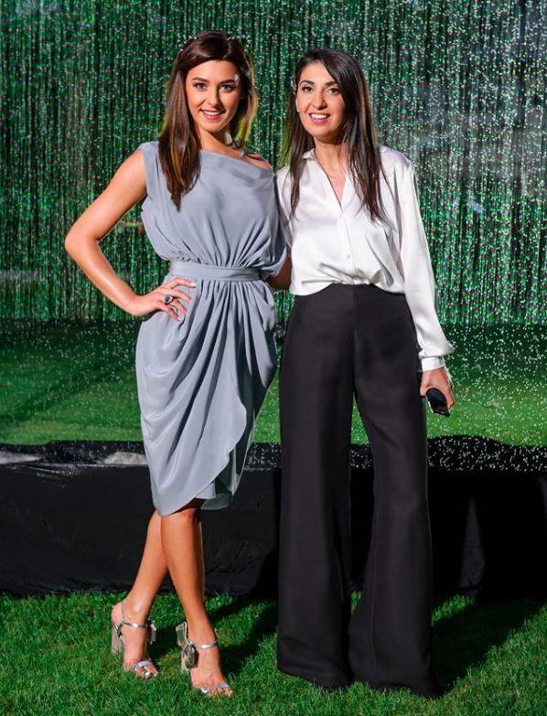 Patricia Cimpoiasu wearing http://shop.laurahincu.ro/product/office/blue-crepe-silk-draped-dress/