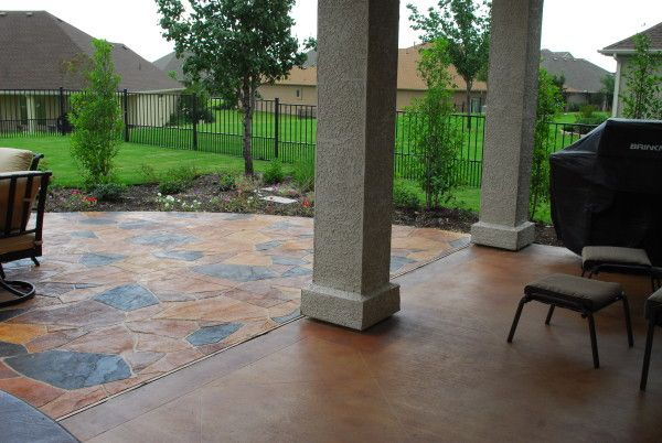 Image of Inspiring Concrete Stain for Outdoor Patio with Black Barbecue Grill Covers and Metal Swivel Outdoor Chairs also Aluminum Garden Fence Panels also Fireplace Outdoor Patio Table Covers Stone Patio Patio Made of Crushed Stone Round Patio Furniture Sets
