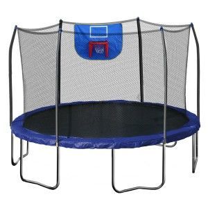 Check out this trampoline that includes a safety net and a basketball hoop!  http://trampolineparadise.com/trampolines-for-sale/