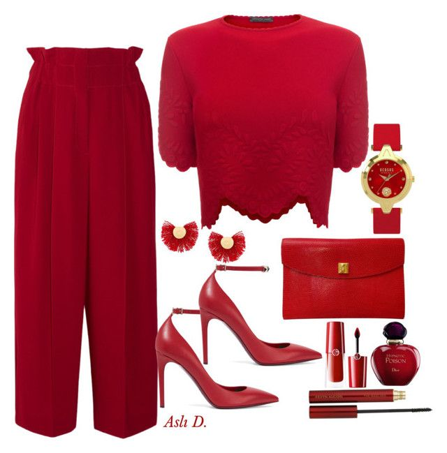"""Ladys in Red"" by duydu-asli on Polyvore featuring Sonia Rykiel, Alexander McQueen, Valentino, Hermès, Giorgio Armani, Christian Dior, Kevyn Aucoin and Katerina Makriyianni"
