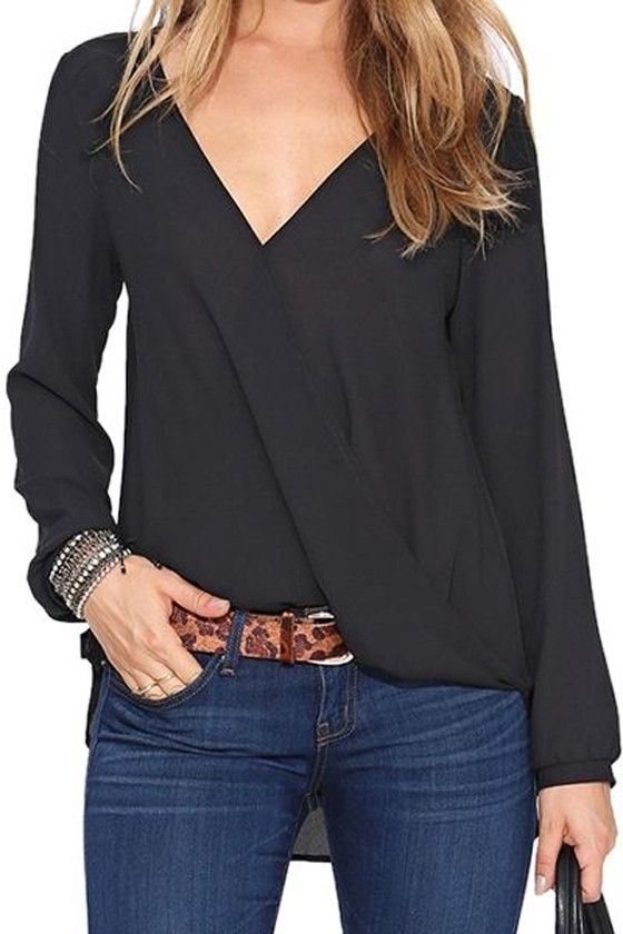 Black Plain Pleated V-neck Long Sleeve Loose Casual Sexy Chiffon Blouse