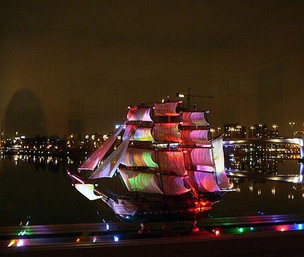 Illuminated ship