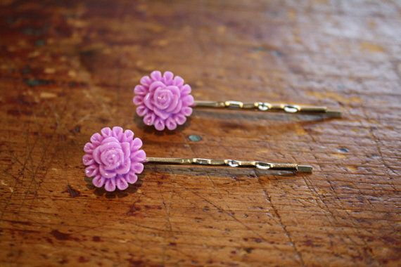 Lavender Flower Bobby Pins by jackandwilladesigns on Etsy, $6.00