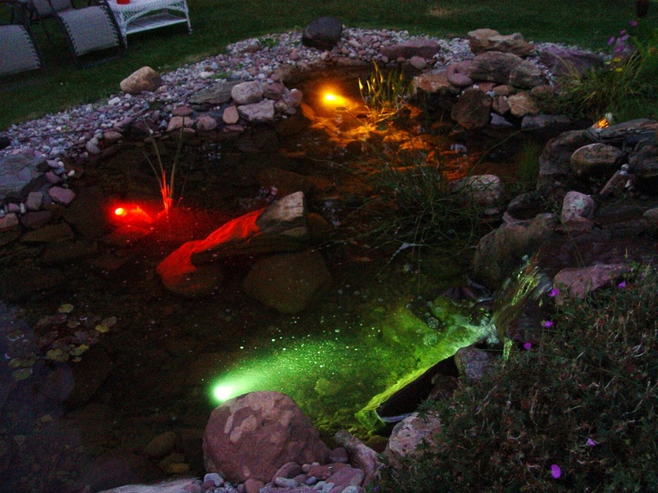 25 best ponds at night images on pinterest water for Koi pond lights