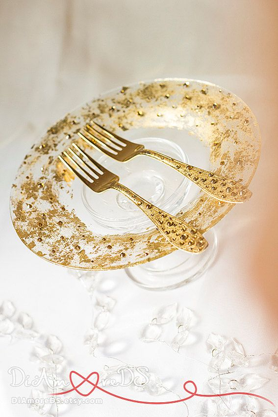 Сrystal and gold wedding forks and plate table by DiAmoreDS
