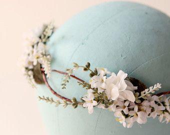 White entwined flower headband