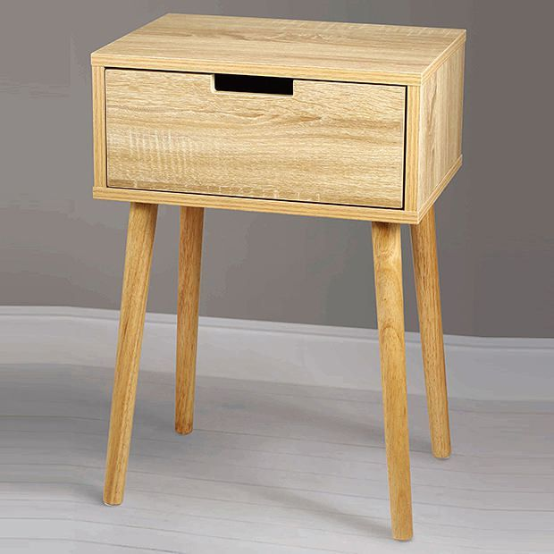 Side Table With Drawer Wood Look
