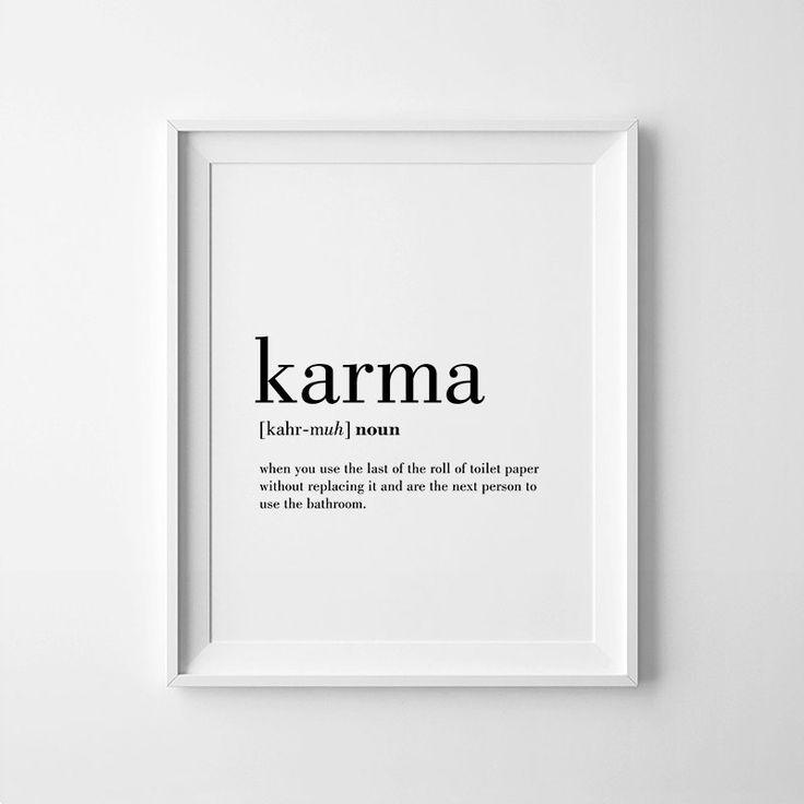 Karma Definition Print Karma Printable Bathroom Wall by printabold